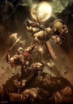 Dwarf vs Orc by genzoman