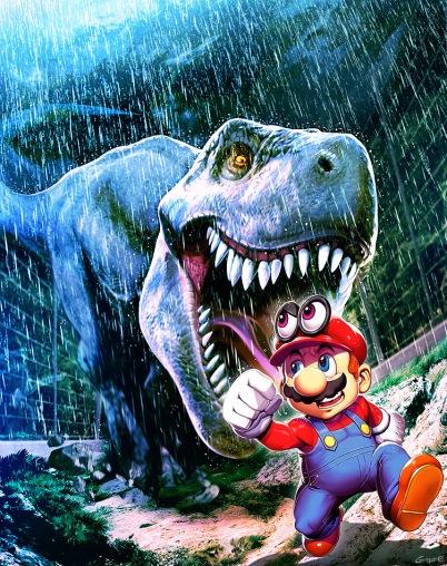 Super Mario Oddysey in Jurassic Park by genzoman