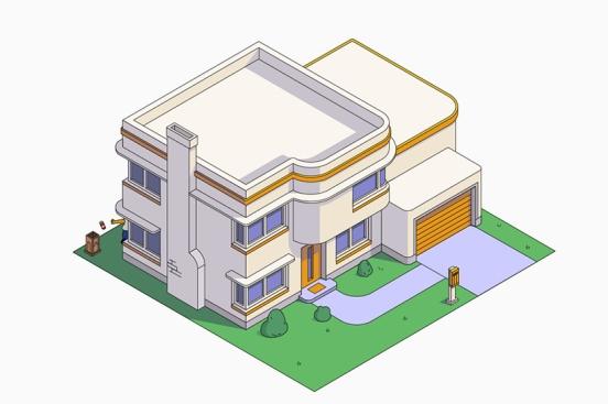 La casa de los Simpson estilo Art Decó