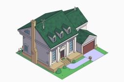 La casa de los Simpson estilo colonial americano
