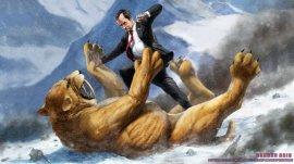 Richard Nixon fighting a Saber Tooth Tiger