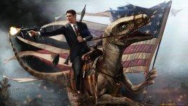 Ronald Reagan riding a velociraptor