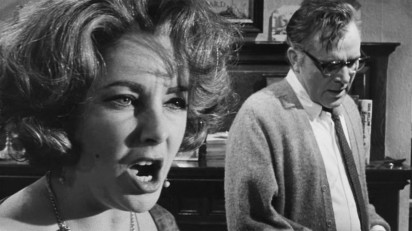 """The movie """"Who's Afraid of Virginia Woolf?"""", directed by Mike Nichols, adapted from the play by Edward Albee. Seen here from left, Elizabeth Taylor as Martha and Richard Burton as George. Initial theatrical release June 22, 1966. Screen capture. © 1966 Warner Bros. Credit: © 1966 Warner Bros. / Flickr / Courtesy Pikturz. Image intended only for use to help promote the film, in an editorial, non-commercial context."""